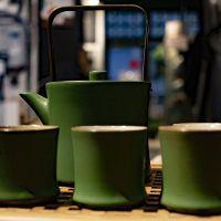 zöld kerámia teás készlet 8